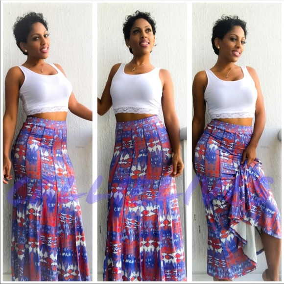8356a27e5b Scuba Maxi Skirt 50⬇️25 Blue Red White CALLIELIVES